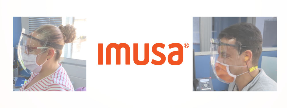 logo imusa in the center and people wearing the mask on the sides