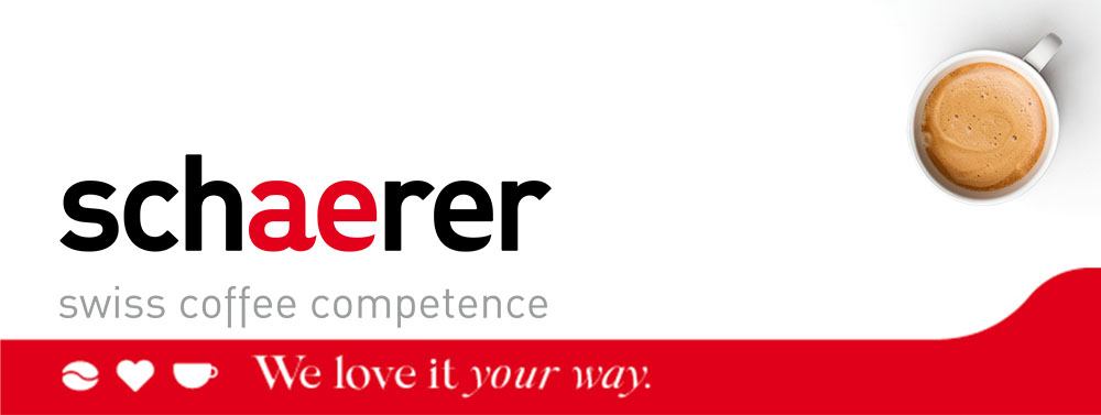 "logo schaerer ""swiss coffee competence, we love it your way"" and cup of coffee"