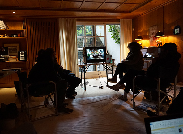 tournage dans le salon