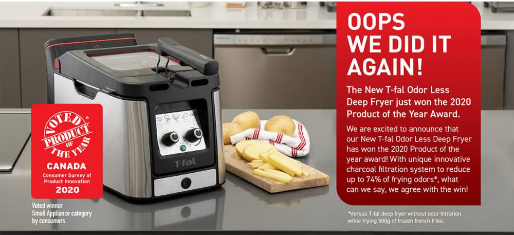 The New T-fal Odor Less Deep Fryer has won the 2020 Product of the Year Award in the Small Appliance Category